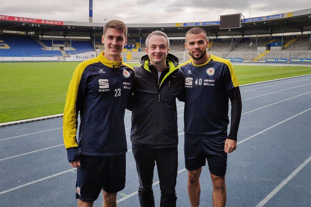 Danilo Wiebe, Markus Hörster und Robin Ziegele im Eintracht-Stadion