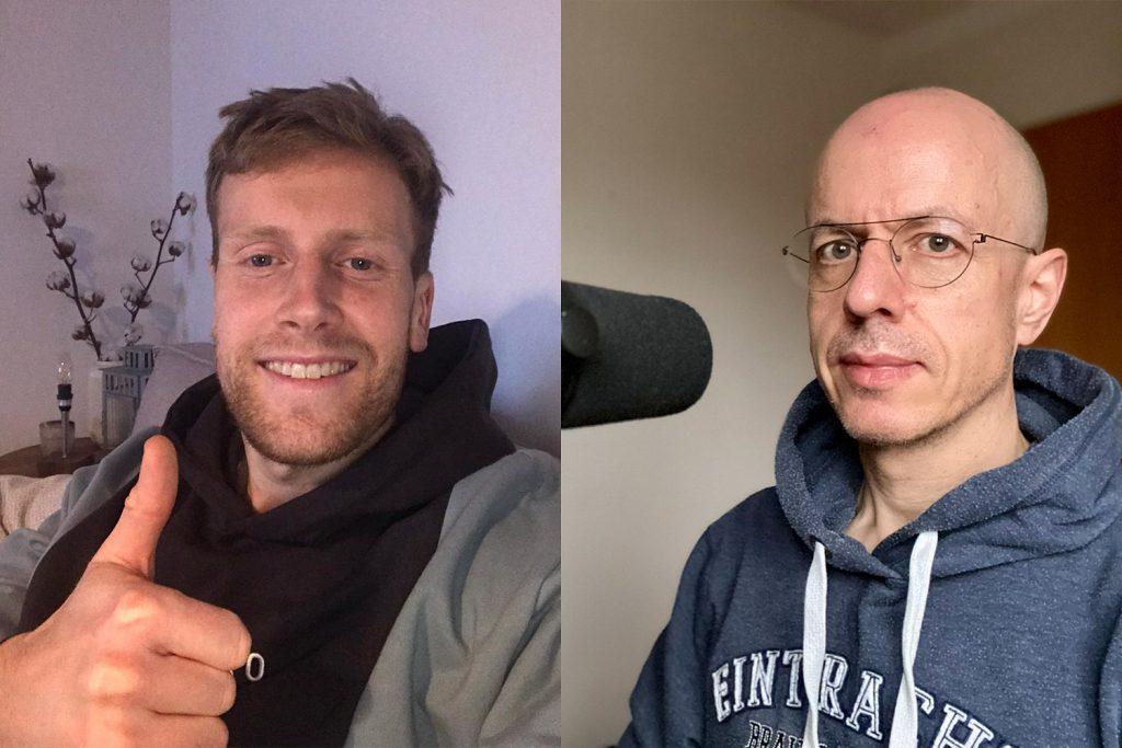 Brian Behrendt und Podcaster Thomas Löwe in Eintracht InTeam 281 Radio Okerwelle Braunschweig